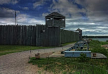Fort Michilimackinac was originally a French, later British fortified trading post on the south coast of the strategically important Straits of Mackinac