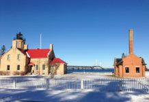 Mackinaw City is a village located in Emmet County and Cheboygan County in the US state of Michigan