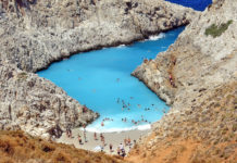 Stefanos beach or Seitan Limania Beach is located  22 km northeast of Chania