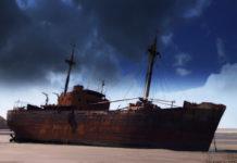 Stranded on the beach of Cabo San Pablo, the cargo ship, The MV Desdemona