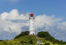 The lighthouse on the Dornbusch is a widely visible landmark of Hiddensee in the Rügen region of Mecklenburg-Vorpommern.