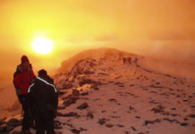 Kilimanjaro is a large stratovolcano composed of three distinct volcanic cones: Kibo, the highest; Mawenzi at 5,149 metres