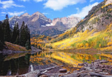 The view of the Maroon Bells from the valley of the Maroon Creek is said to be the most photographed place in Colorado.