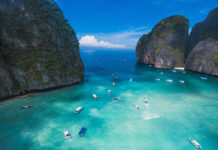 Maya Bay is in Krabi, Thailand, on the island called Ko Phi Phi Lee (or also Phi Phi Ley) of the Phi Phi archipelago, which touches the Andaman Sea
