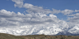 The Pamir Mountains lie mostly in the Gorno-Badakhshan province of Tajikistan. To the north, they join the Tian Shan mountains along the Alay Valley of Kyrgyzstan