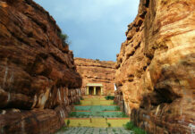 Badami is famous for its cave temples which are accessed via stairways carved into the rock